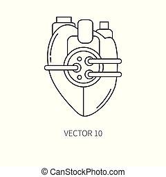 Bionic heart prosthesis line icon. Bionic prosthesis. Biotechnology futuristic medicine. Future technology. Medical artificial mechanical robot implant sign and symbol. Transplantation. Cyborg.