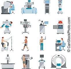 Bionic Icons With Surgical And Diagnostic Equipment