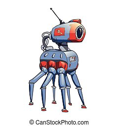 Bionic six-legged robot with a camera in his head. Vector illustration isolated on white background.