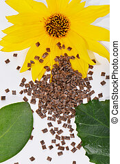 Biopolymer with organic material - Biopolymer with blossom...