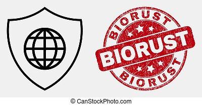biorust, grunge, bouclier, global, coup, vecteur, cachet, icône