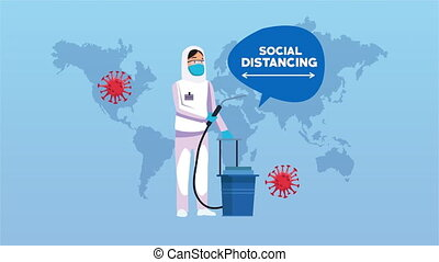 biosafety worker with spray cleaner covid19 disinfected ,4k video animation