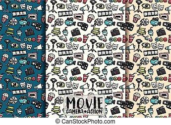 bioscoop, film, set., seamless, illustrator., thema, vector, achtergrondmodel, paper., film, design.