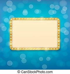 bioscoop, gouden, frame, met, gloeilampen, op, blurry, blauwe achtergrond
