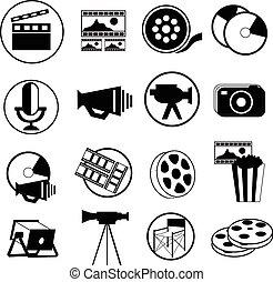 bioscoop, iconen, set