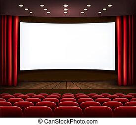 bioscoop, met, het witte scherm, gordijn, en, seats.,...