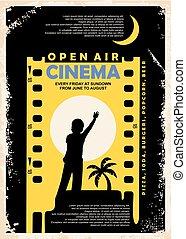 bioscoop, ouderwetse , lucht, vector, ontwerp, poster, open