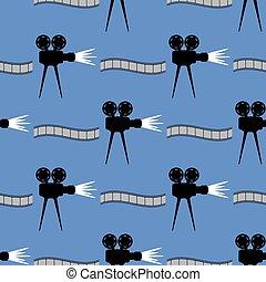 bioscoop, pattern., seamless, achtergrond, strook, film