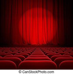 bioscoop, rode gordijnen, met, schijnwerper, en, zetels