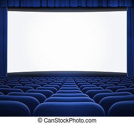 bioscoop, scherm, met, open, blauw gordijn, en, zetels