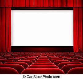 bioscoop, scherm, met, open, gordijn, en, rood, zetels