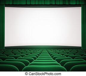 bioscoop, scherm, met, open, groen gordijn, en, zetels
