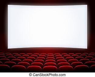 bioscoop, scherm, met, open, rood, zetels