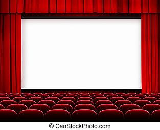 bioscoop, scherm, met, rode gordijnen, en, zetels
