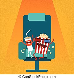 bioscoop, stoel, film, film, zetel, spotprent, cola, popcorn