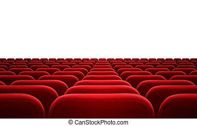 bioscoop, vrijstaand, publiek, zetels, of, rood