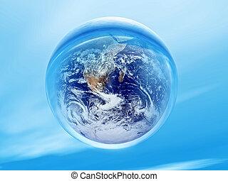 biosphere - planet earth inside a water bubble