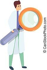 Biotech scientist icon, cartoon style
