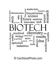 biotech, szó, felhő, fogalom, alatt, fekete-fehér