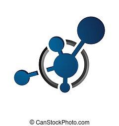 biotech, vettore, cellula, nanotechnology, astratto, molecola, logotipo, icona, neurone