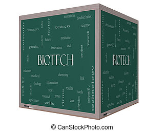 Biotech Word Cloud Concept on a 3D cube Blackboard