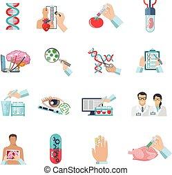 biotechnologie, ensemble, couleur, icônes, plat