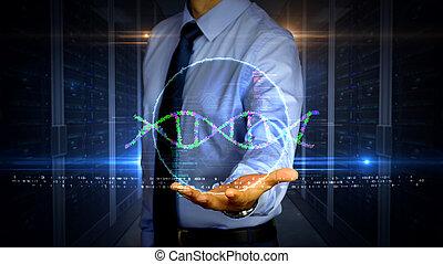 biotechnologie, hologramme, adn, hélix, homme affaires
