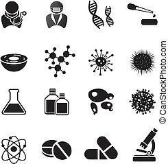 biotechnologie, icône, ensembles