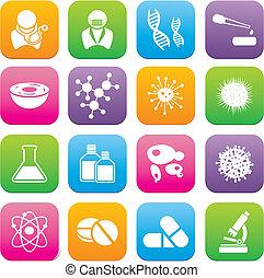 biotechnologie, stil, sätze, wohnung, ikone