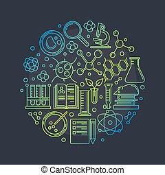 biotechnologie, vecteur, rond, illustration