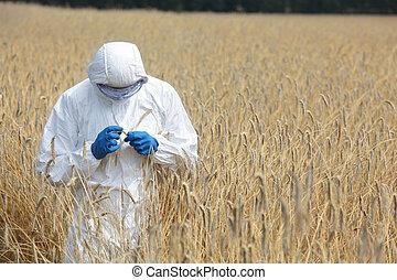 biotechnology engineer on field