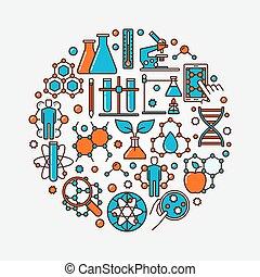 Biotechnology flat round symbol