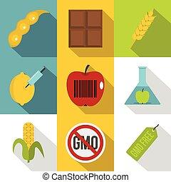 Biotechnology icon set, flat style