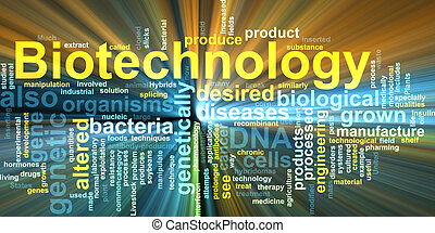 Biotechnology word cloud glowing - Word cloud concept...
