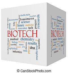biotecnología, 3d, cubo, palabra, nube, concepto
