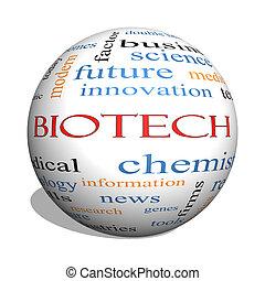 biotecnología, 3d, esfera, palabra, nube, concepto