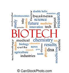 biotecnología, palabra, nube, concepto