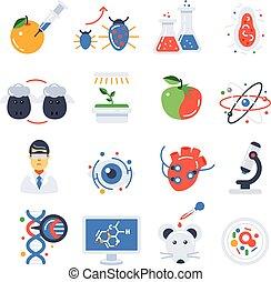biotecnologia, set, colorato, icona