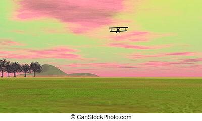 Biplan landing - 3D render