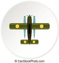 biplan, militaire, cercle, icône