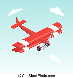 Biplane airplane isometric vector illustration