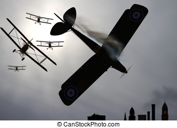 Biplane Dogfight over city - Double wing Biplane airplanes...