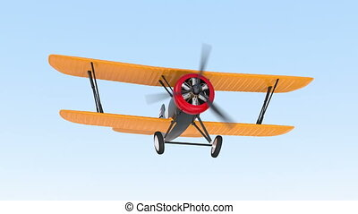 Biplane flying in the sky