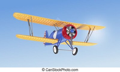 Biplane flying in the sky