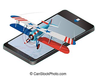 Biplane from World War on mobile phone with colors of flag of United States.