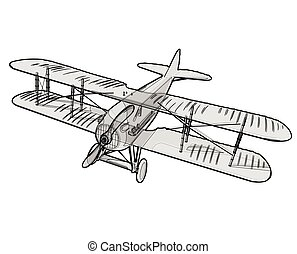 Biplane from World War with black outline. Model aircraft propeller.