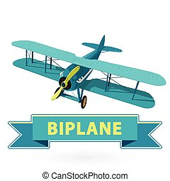 Biplane from World War with blue coating. Model aircraft propeller.