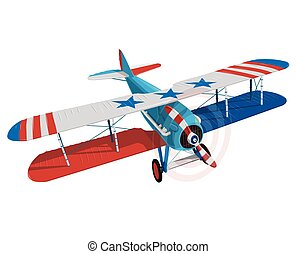 Biplane from World War with color flag of United States.