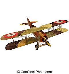 Biplane from World War with military camouflage. Model aircraft propeller.