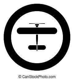 Biplane icon black color in circle